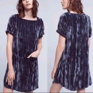 Anthropologie Crushed Velvet Shift Tunic Dress